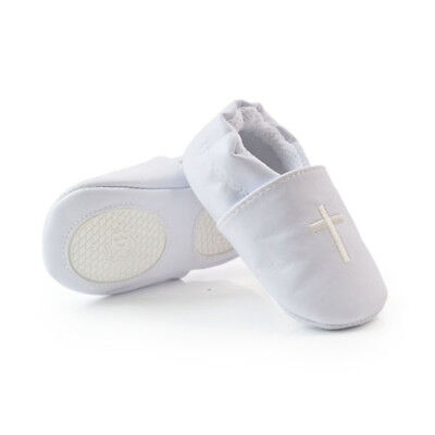 Baby Boy Girl Cross Baptism Christening Shoes Church Soft Sole Leather Shoes