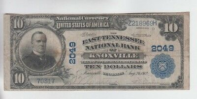 National Currency $10 1902PB Knoxville Tennessee fine stains