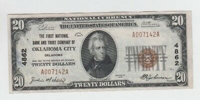 National Currency $20 1929-I Oklahoma City Oklahoma vf stain