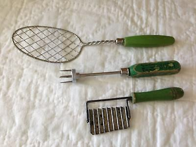 3 Vintage Green Handled Kitchen Utensils-Retro Chic Tools~Strain-Ice Tool-Crimp