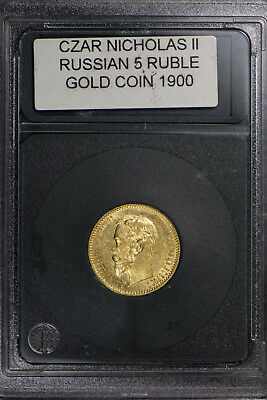 1900 RUSSIA GOLD 5 ROUBLES COIN - CZAR NICHOLAS II ** 31,000 MINTED!!  Lot#B005