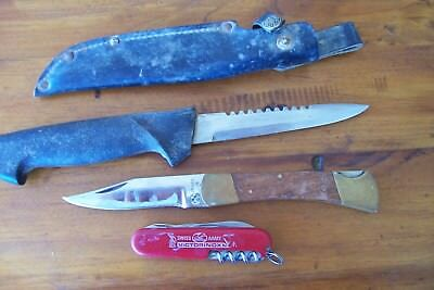 old vintage knives swiss army, fishing hunting