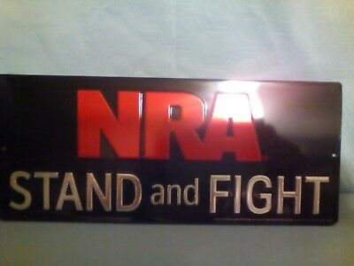 Nra Stand And Fight Embossed Metal Sign