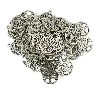 100 Pieces Antique Silver Round Tree of Life Jewelry DIY Charms Connectors