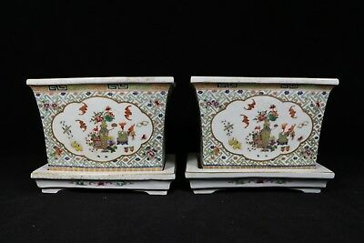 beautiful chinese famille rose porcelain gilded a pair flowerpots