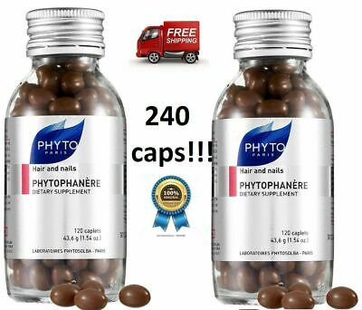 2x PHYTO Phytophanere Hair & Nails Dietary Supplement 120 Caps (4 months)
