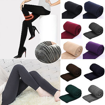 Womens Winter Thick Warm Fleece Lined Thermal Stretch Slim Skinny Leggings Pants
