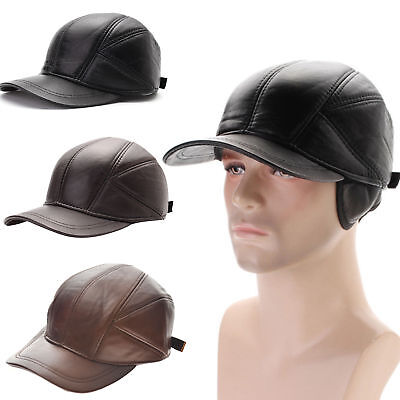 Winter Hats With Ear Flaps Men's  Leather Baseball Caps Men Cap Hat
