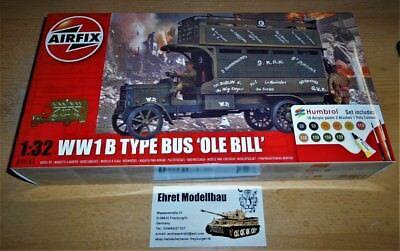 2WWI british B Type Bus Ole Bill + 6 Figuren + Farbe Pinsel   1:32 Airfix A50163