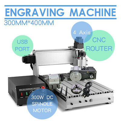 Hot 4 Axis 3040 Usb Cnc Router Engraver Engraving Cutter T-Screw Desktop Cutting