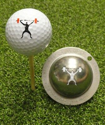1 only TIN CUP GOLF BALL MARKER - MAN UP - WEIGHTLIFTER  & yours for life