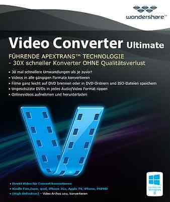 Wondershare Video Converter Ultimate  lifetime dt.Vollvers Download nur 32,99 !!