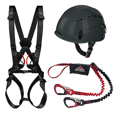 Alpidex Kletterhelm + Komplettgurt + Stubai Klettersteigset BASIC Connect 2.0