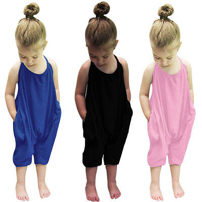 Toddler Kids Baby Girls Strap Romper Jumpsuit Sunsuit Harem Pants Outfit Clothes