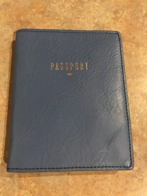 Fossil Leather Passport Blue Nwt