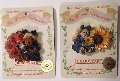 Boyds Bears Pin Lot of 2 Floral Collection Bearwear Brooch Lapel 20TH Anniversar