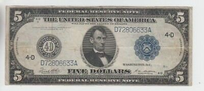 Federal Reserve Note $5 1914 vf