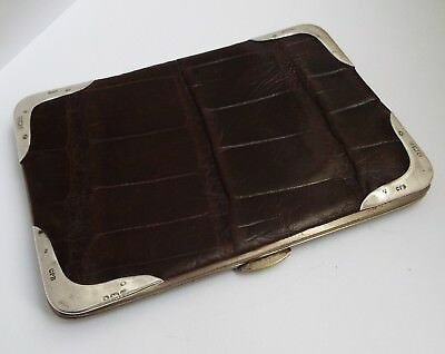 Fine Large English Antique 1905 Solid Sterling Silver & Crocodile Leather Wallet