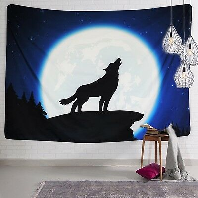 Sunlightfree Wolf Home Decor Tapestries Lone Wolf Howling to The Moon on ... New