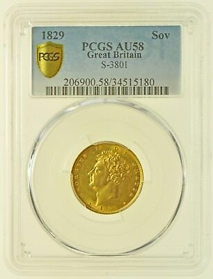 1829 Sovereign, Slabbed Pcgs Au58, British Gold Coin From George Iv