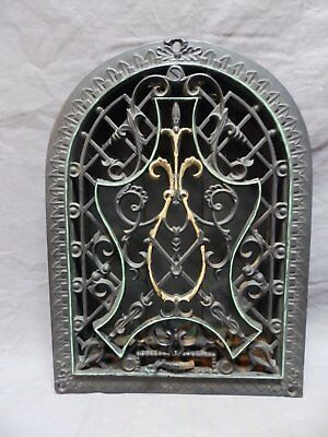 Antique Cast Iron Arch Top Heat Grate 14x10 Dome Wall Register Vtg Old 662-18P