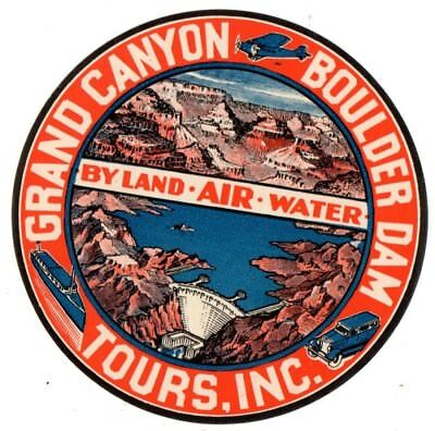 Grand Canyon Airlines  Baggage Label Sticker 1930's Fantastic Color And Graphics