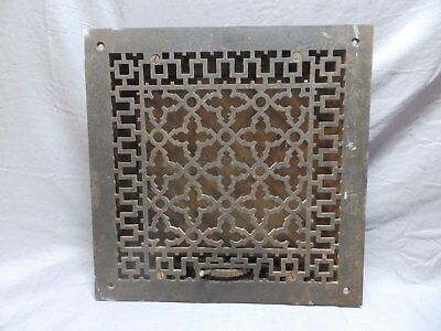 Antique Cast Iron Gothic Heat Grate 14x14 Square Wall Register Vtg Old 663-18P