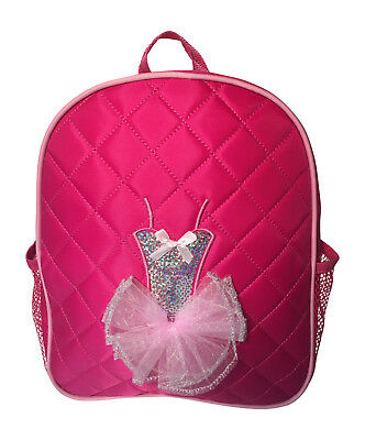 Girls Dance Backpack Quilted Sequin Ballerina Tutu Backpack Medium Fuchsia