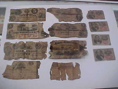1830's  & 1860's OBSOLETE & FRACTIONAL CURRENCY 12 NOTE LOW GRADE LOT