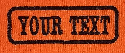 1 Line Orange Twill Cloth Personalised Name Patch Badge Biker Scooter Iron On