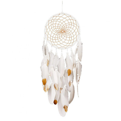 White Dream Catcher Traditional Handmade Feathers Wall Home Hanging Ornament