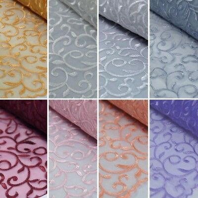 Viscose Embroidered Organza Fabric Dress Curtain Wedding 130cm Wide