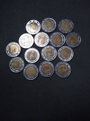 foreign coin lot #S4 - Mexico $2 peso bi-metal coins - 15 coins-free shipping