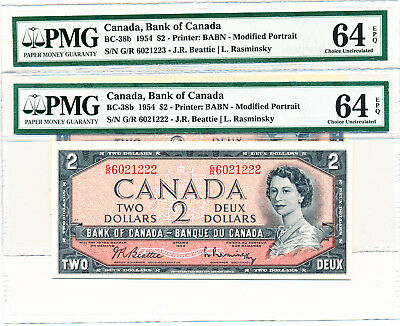 Bank Of Canada 2 In A Row 2 Dollars 1954 G/r Non-Test - Pmg 64 Choice Unc Epq