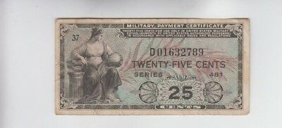 Military Payment Certificate Series 481 25 Cent Replacement fine+