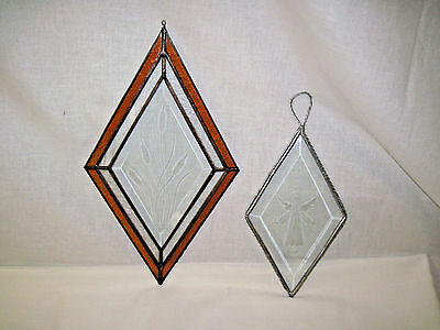 2 Stained Glass Lead & Silver Etched Diamond Shaped Hangings