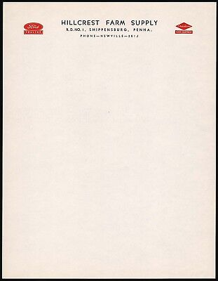 Vintage letterhead FORD DEARBORN TRACTORS Shippensburg PA unused new old stock
