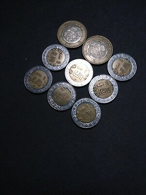 foreign coin lot #S5 - Mexico - bi-metal 5&10 peso coins - 9 coins-free shipping