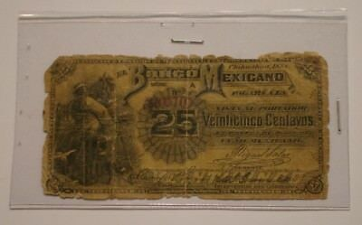 1888 El Banco Mexicano 25 Centavos Bank Note of Mexico