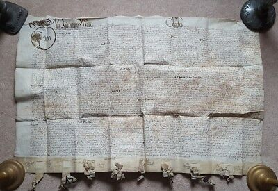 Very large & rare vellum indenture 1631. Leeds. Several families mentioned