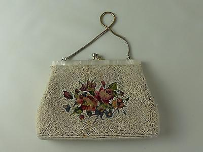 (ref165DH) Antique Evening Bag Handbag Clutch Bag with Mother of Pearl Clasp