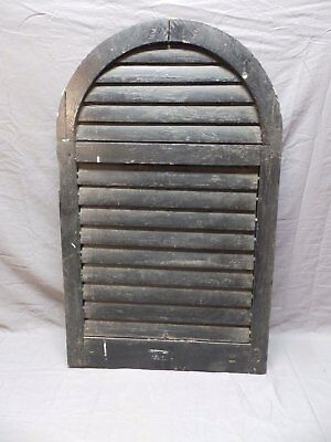 """Antique Rounded Arched Top Wood Louvered Shutter 32""""x20"""" Small Old Vtg 670-18P"""