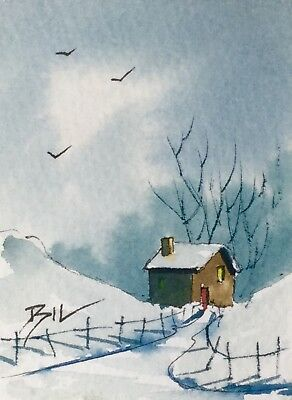 ACEO Original Art Watercolour Painting by Bill Lupton - The Cottage