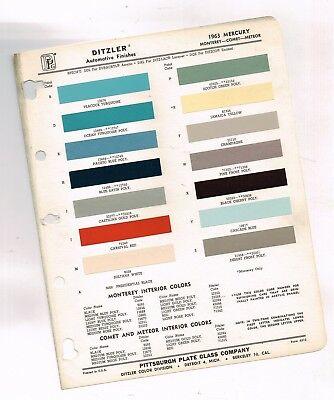 1963 Mercury COLOR CHIP SAMPLE PAINT CHART Brochure: Monterey / Comet / Meteor