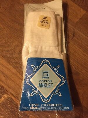Vintage Ankle Socks White Bobby Anklet Ladies NOS NEW Gambles 9 9.5