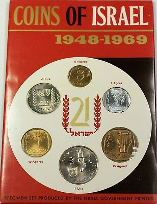 1969 Coins of Israel 6 Piece Uncirculated Set Original Government Case