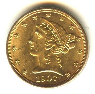 1907 D Liberty Head Half Eagle MS+++ Scarce Early Gold Type Coin $5 Gold Denver