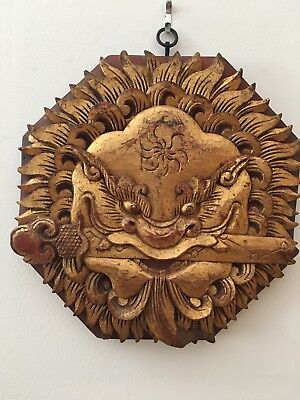 Antique Chinese Bagua Early & Late Heaven Lion Mask Powerful Feng Shui Camphor