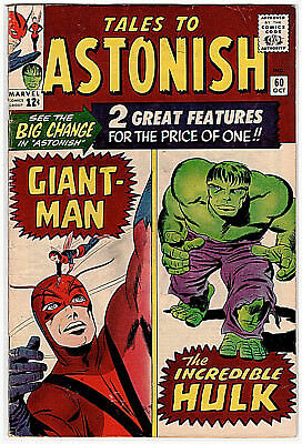 Marvel TALES TO ASTONISH # 60 w/ GIANT-MAN & THE INCREDIBLE HULK; FINE; OCT.1964