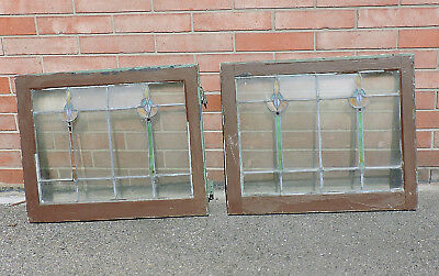Lot Of 2 Matching Antique Stained Glass Lead Windows Sashes Hinged Set 28 X 23